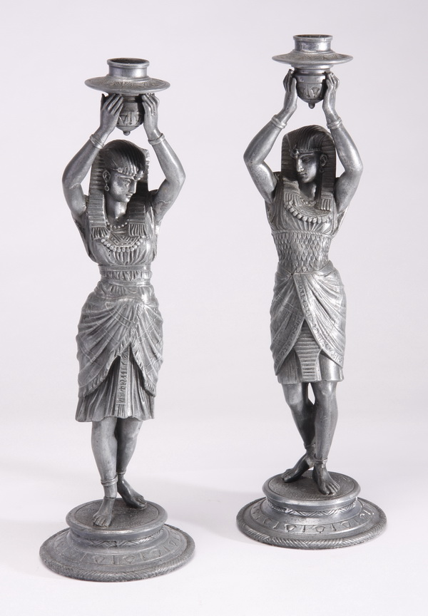 (2) Art Deco style figural candlesticks, 15