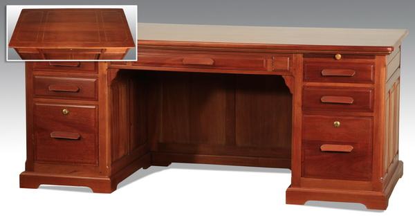 Custom crafted walnut executive desk, 71