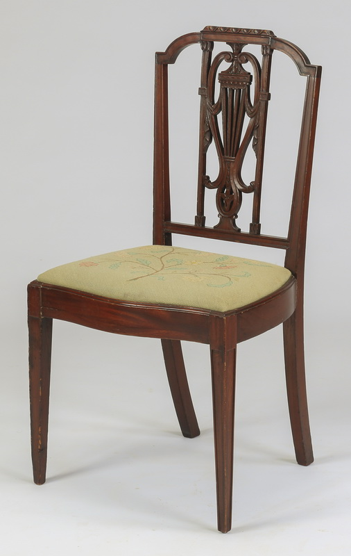 Sheraton style chair w/ needlepoint seat