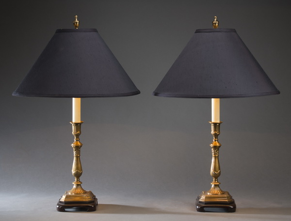 (2) Brass candlestick table lamps with fabric shades