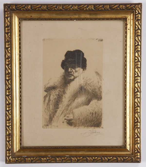 Anders Zorn self portrait etching on paper, signed