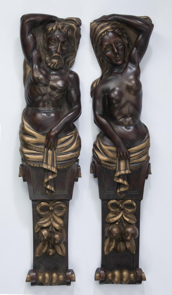 (2) Parcel gilt figural pilasters
