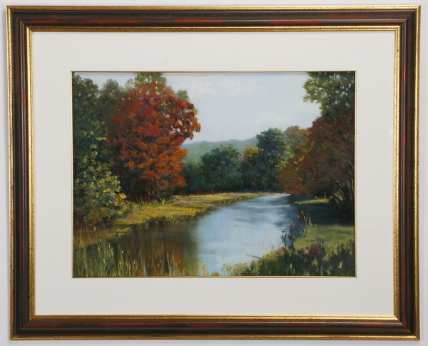 Barbara Fountain, pastel on paper, riverscape, 43