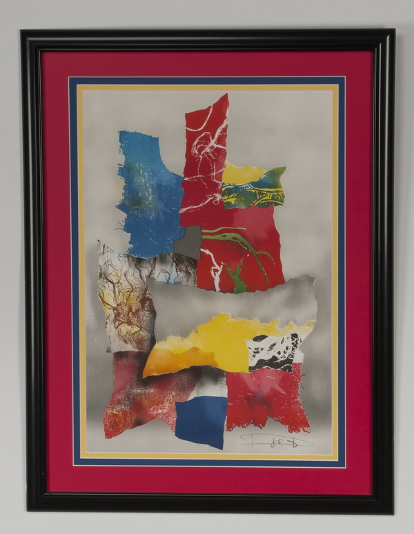 Laszlo Dus abstract lithograph, signed, dated