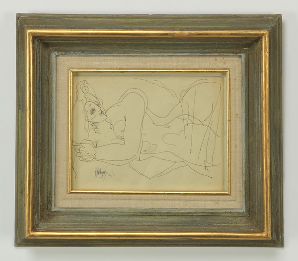 20th c. erotic ink on paper, signed, 18