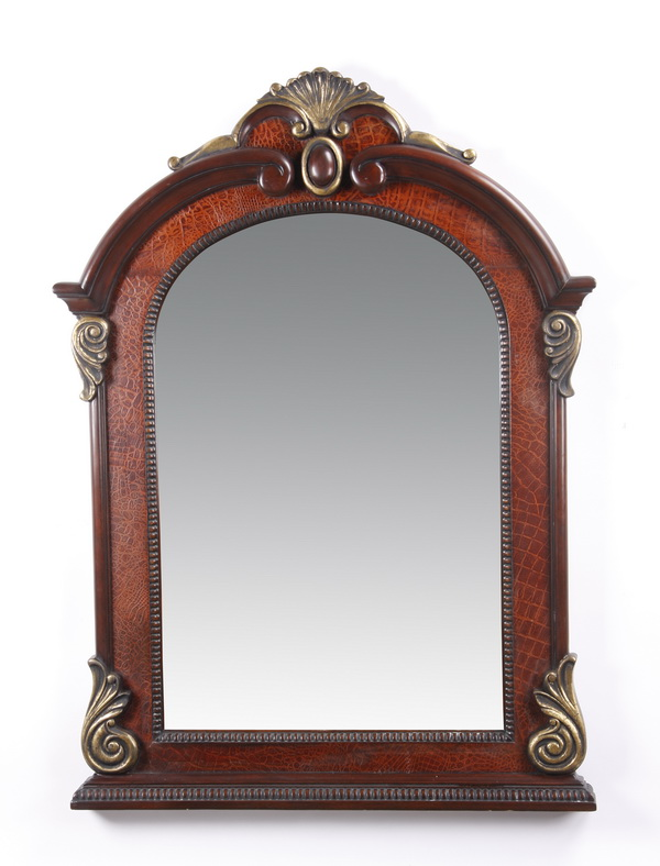 Carved and parcel gilt mahogany mirror, 55