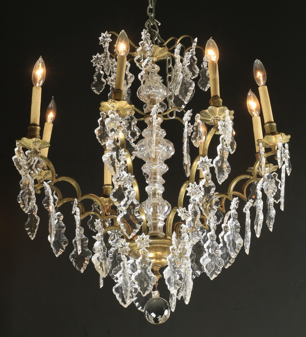 Continental crystal and gilt bronze chandelier 30