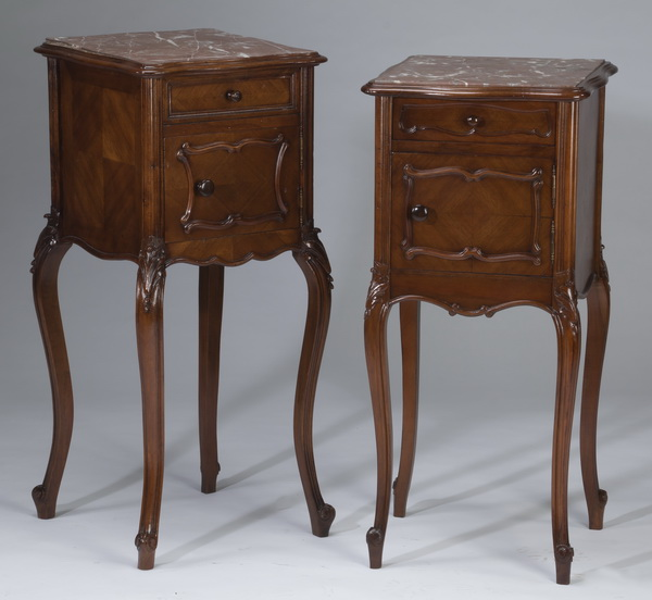 (2) 19th c. French marble top walnut side tables