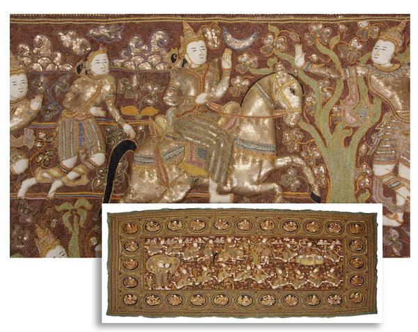 Oversized Burmese kalaga tapestry, 132