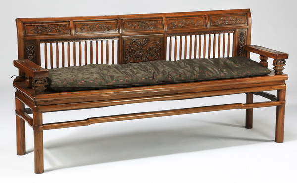 Chinese carved bench w/ custom cushion, 74