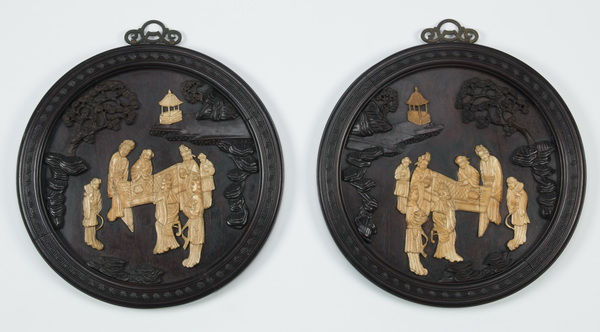 (2) Chinese carved wall plaques w/ bone figures