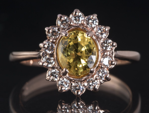 Yellow sapphire, diamond, & 14k rose gold ring