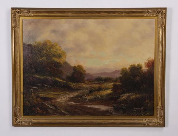 Paul Wesley signed O/c landscape, 19th c.