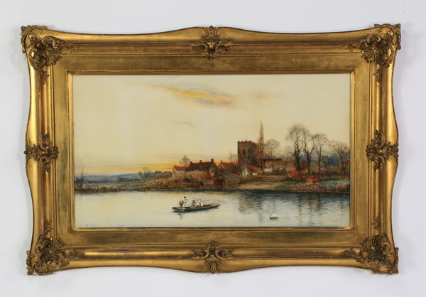 19th c. W/c of rowboats at sunset, signed, 48