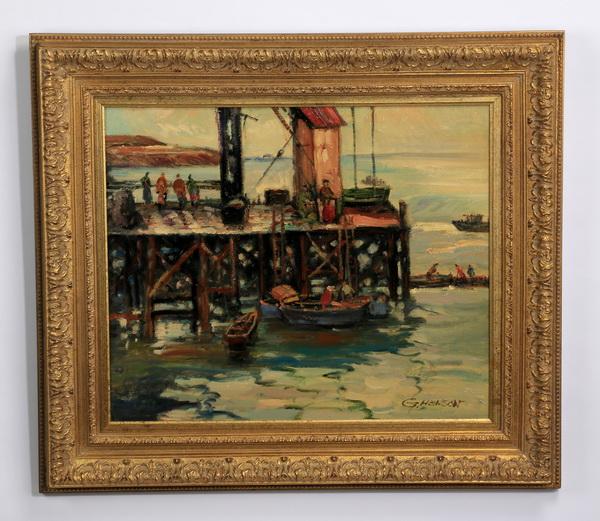 G. Henson signed, O/c dock scene