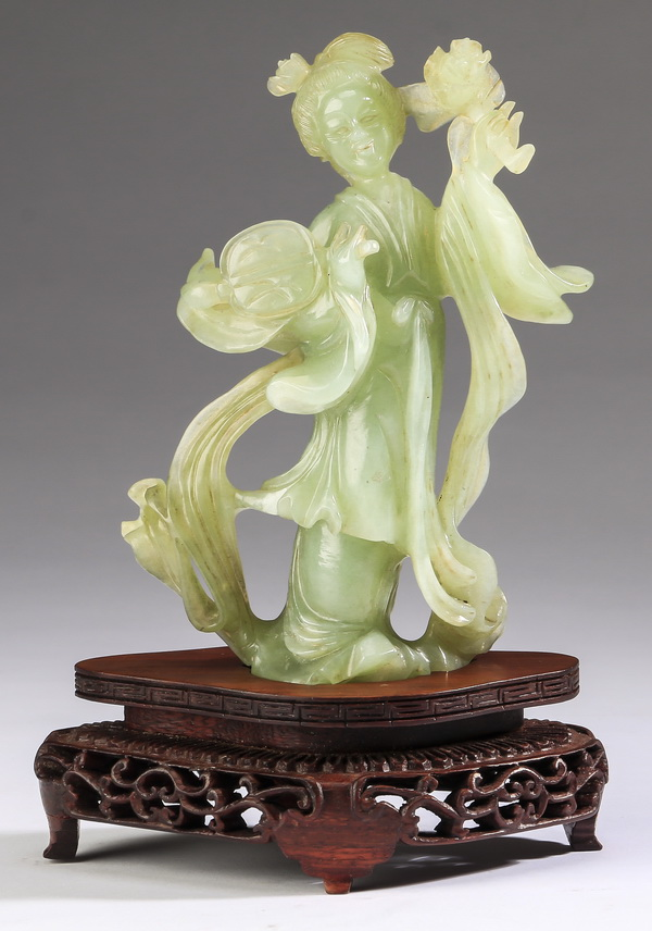 Chinese jade carving of a celestial beauty, 6