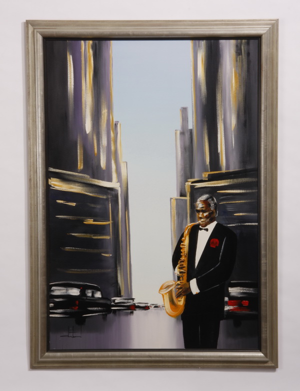 Oil on canvas of a jazz musician, signed, 58