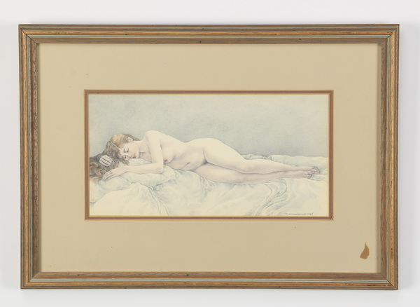 Contemporary pencil drawing of sleeping nude