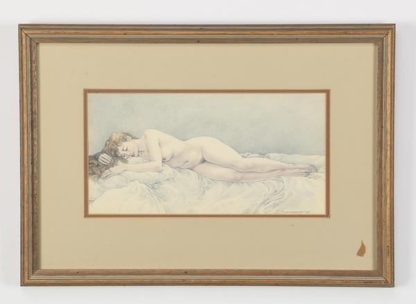 Contemporary pencil drawing of sleeping nude