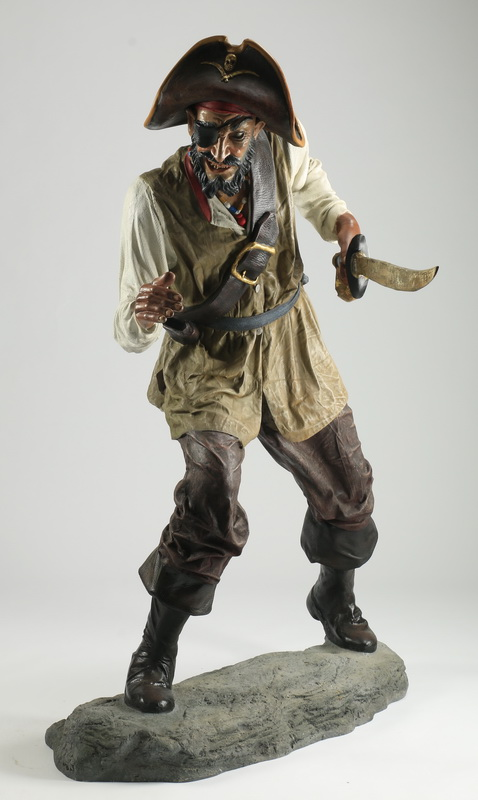 Contemporary sculpture of a life-size pirate