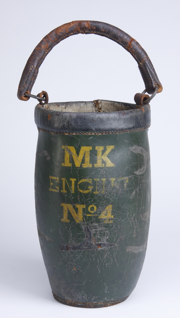 19th c. American leather fire bucket, 20