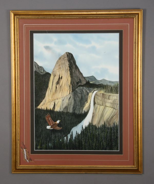Don Griffiths signed W/c, western scene with eagle
