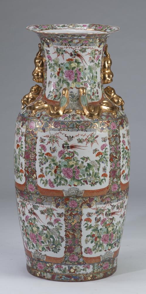 Oversized Chinese Rose Medallion floor vase, 36