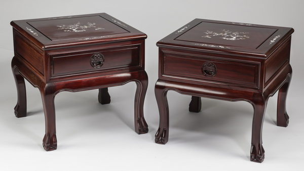 (2) Chinese rosewood end tables with mother of pearl