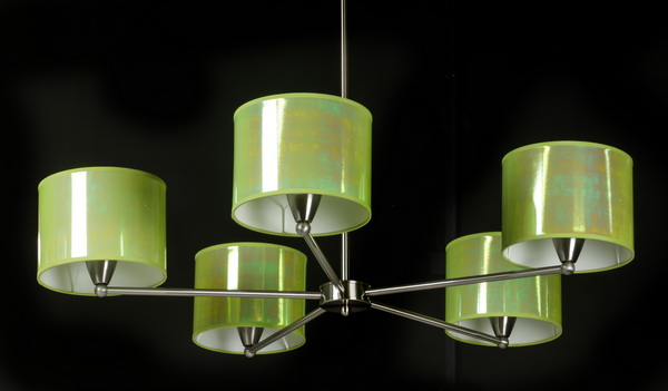Contemporary chrome chandelier w/ iridescent shades