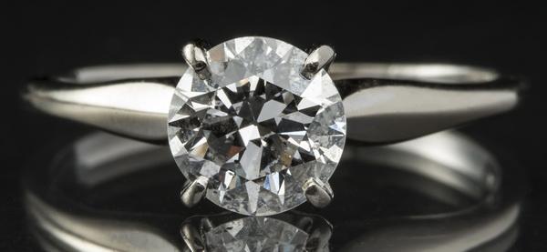 Diamond solitaire ring, 1.12 ct diamond, 14k gold