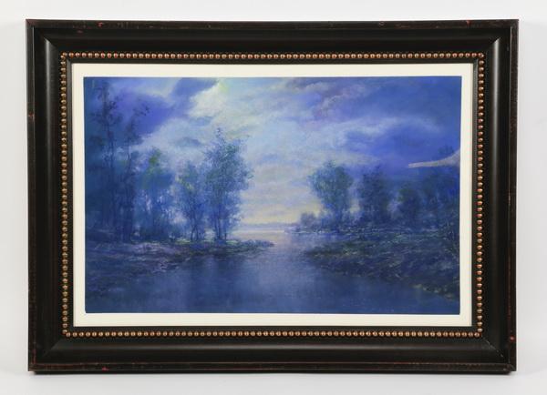 Philip Lekki pastel on paper of moonlit lake, signed