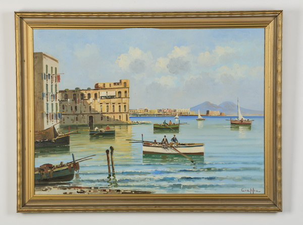 20th c. Italian O/p of coastal village, signed, 31