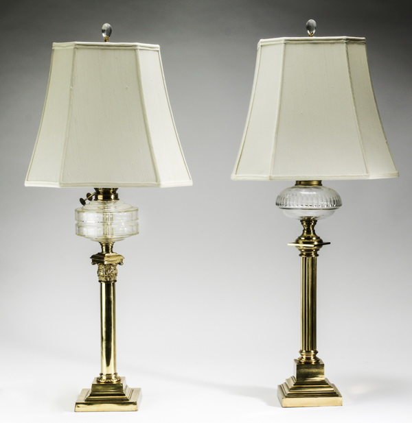 (2) Brass oil lamps now electrified, 36