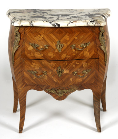 19th c. marquetry inlaid marble top commode