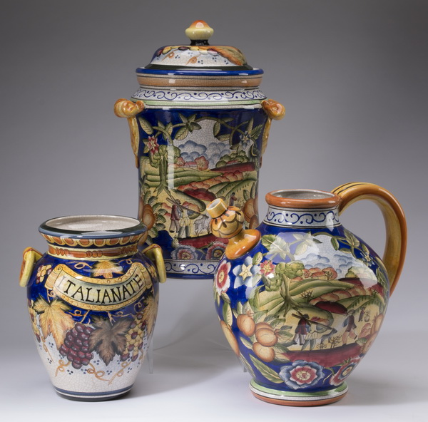 3-Piece grouping of hand decorated Italian pottery
