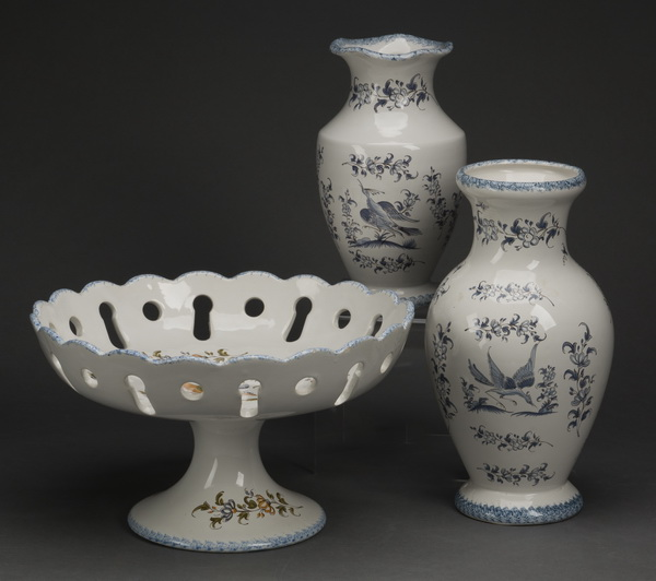 3-Piece grouping of French Moustiers faience
