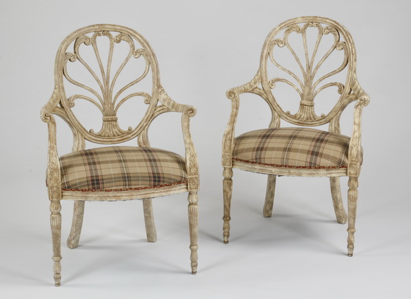 (2) French paint decorated armchairs