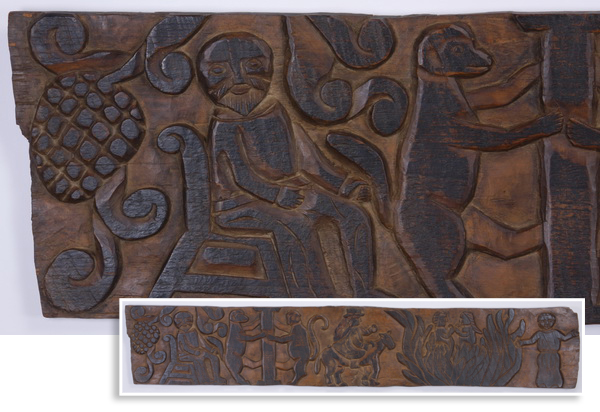 Latin American carved folk art plaque, 79