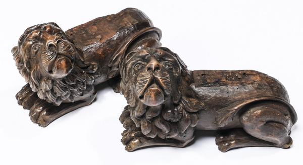 (2) 19th c. carved oak recumbent lions, 7