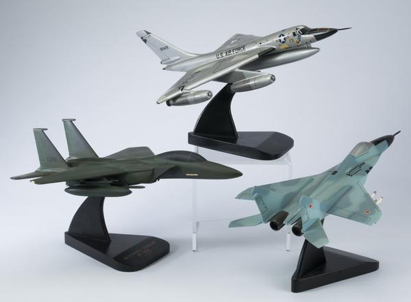 (3) Model fighter jets including 'MIG' & 'Hustler'