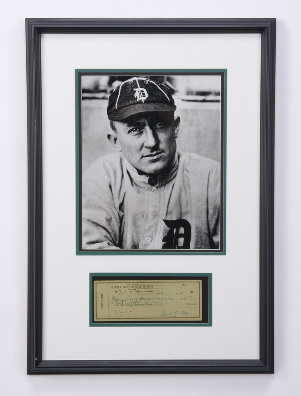Framed Ty Cobb photo and signed personal check