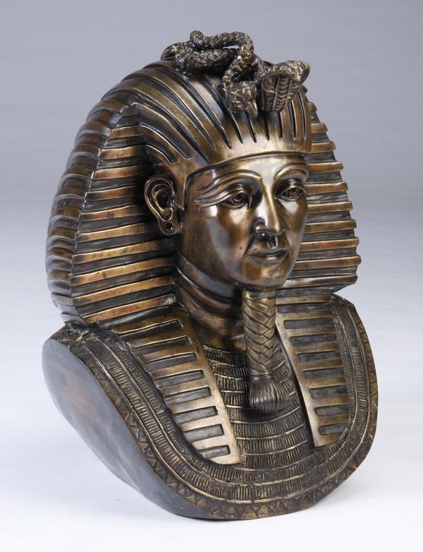 Lifesize bronze bust of King Tut, 25