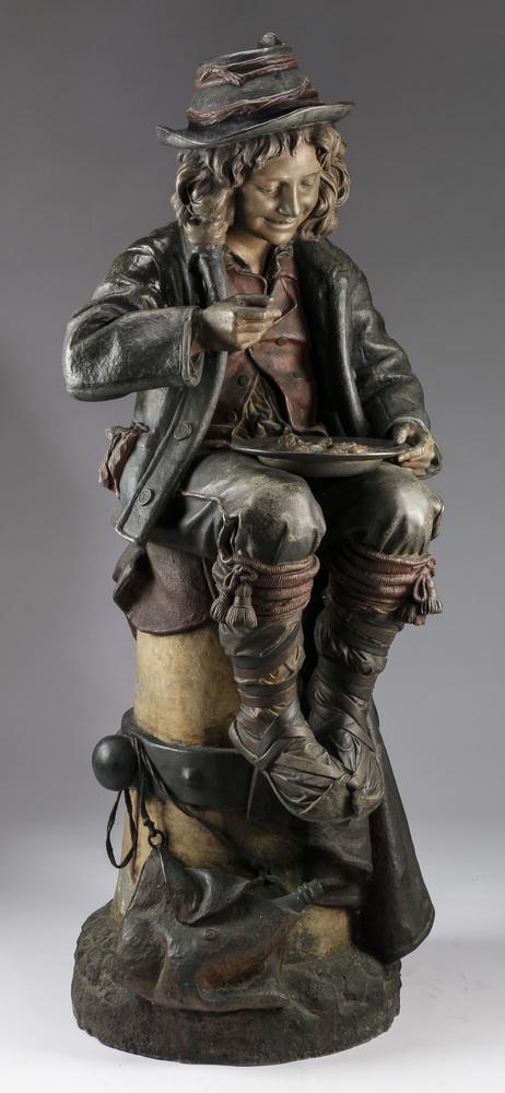 Polychrome bronze sculpture, peasant boy, 50