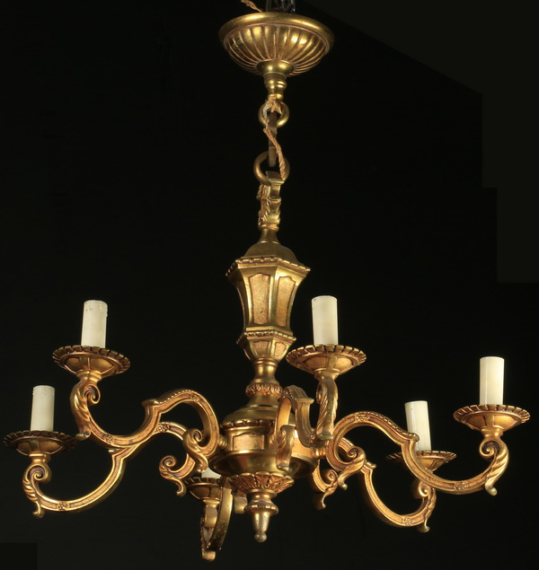 Early 20th c. Continental gilt bronze chandelier