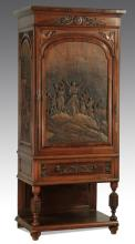 Italian carved cabinet with mirrored interior, 79