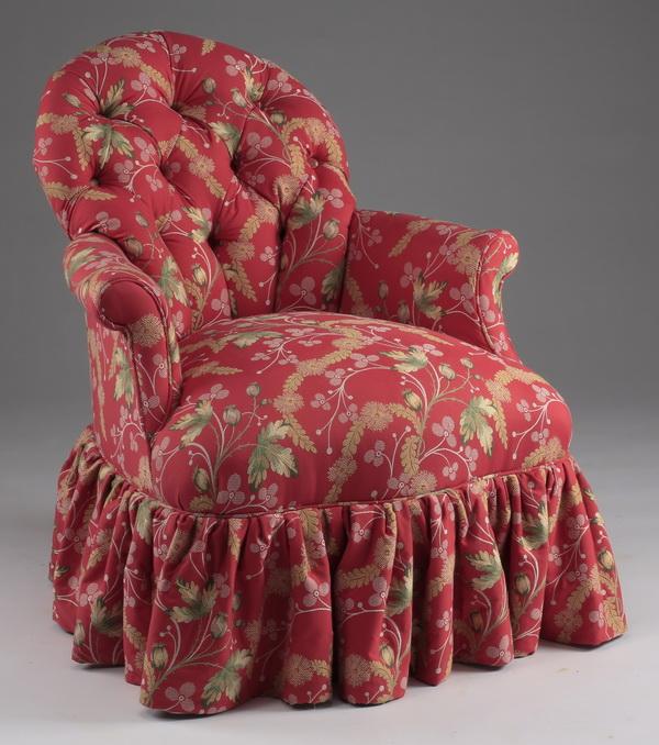 Custom upholstered French boudoir chair, 33