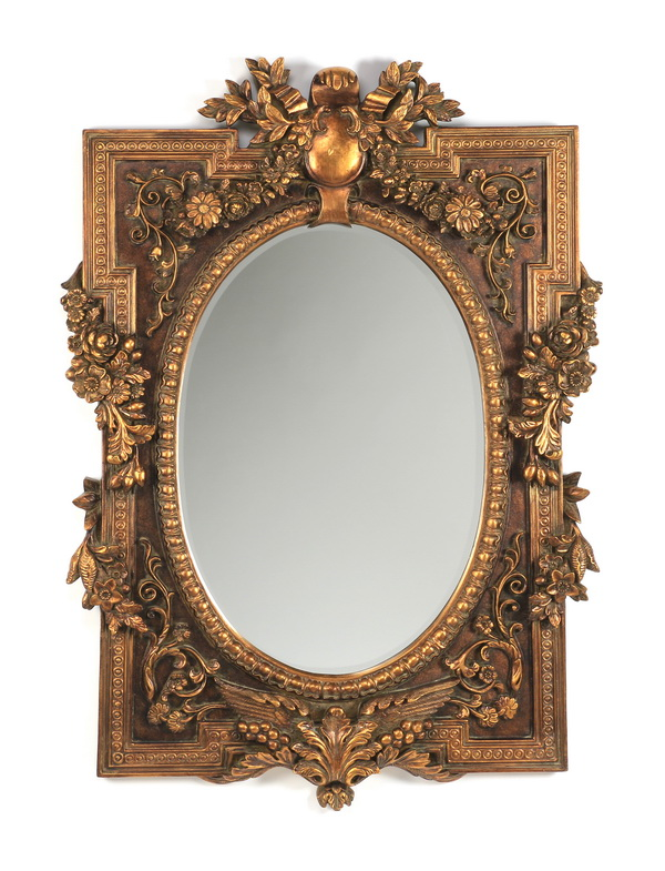 Baroque style gilded beveled mirror 56