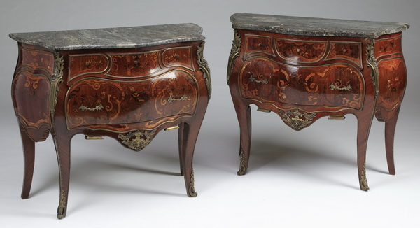(2) Louis XV style petite marble top commodes