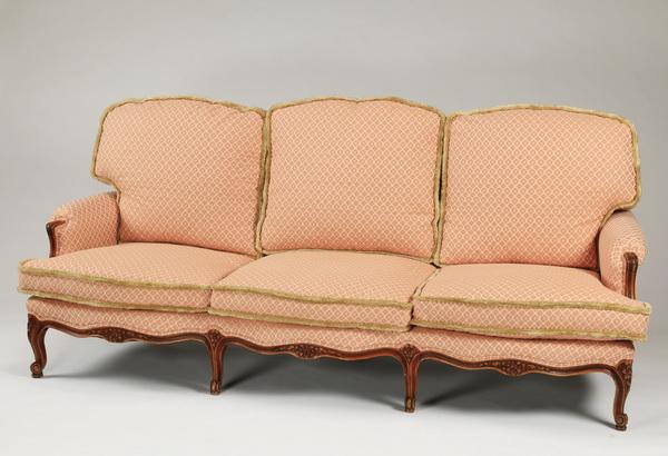Custom upholstered French settee, 19th c.