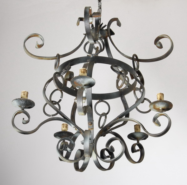 Early 20th c. French wrought iron chandelier
